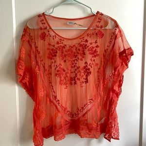 Kimchi Blue Coral Red Lace Sheer Mesh Blouse